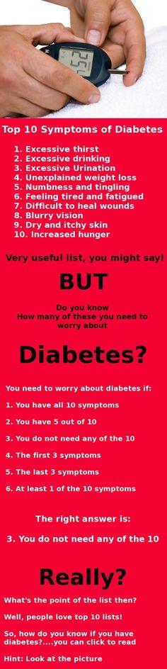 10 top symptoms of diabetes?