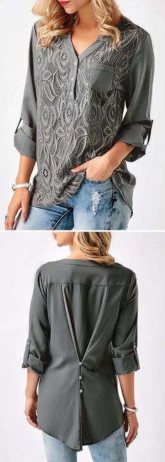Roll Tab Sleeve Split Neck Blouse Top, free shipping worldwide and better service at rosewe.com.