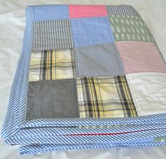 When I helped my friend Berni make a quilt from her late brother& shirts last year, I had no idea I& be making a similar quilt myself a . Memory Pillow From Shirt, Memory Pillows, Memory Quilts, Patchwork Blanket, Old Shirts, Kids Apron, Dog Pattern, Quilt Making, Quilt Patterns