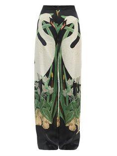 Swan-print wide-leg silk trousers - Adriana Degreas