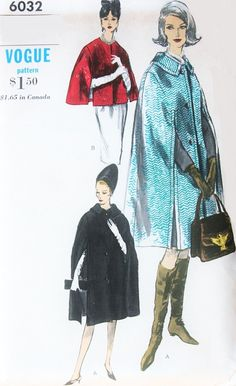 1960s ELEGANT Cape Coats Pattern VOGUE 6032 Short or Regular Length Classy Timeless Capes Medium Size Vintage Sewing Pattern FACTORY FOLDED