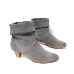 size 10 CUFFED gray suede leather 80s HIGH HEEL by 20twentyvintage