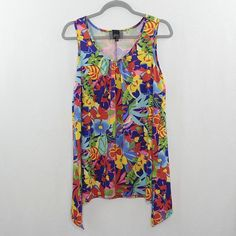 9d9aa9b59cd Slinky Brand Sleeveless Colorful Tropical Floral Tunic Top Stretchy Size  Medium  fashion  clothing