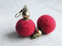 BUY 2 GET 1 FREE Red Felt Earrings Red Cherry Merino Wool Felted Balls Felt Jewelry Eco-friendly Earrings. $12.50, via Etsy.