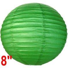 """Green Chinese/Japanese Paper Lantern/Lamp 8"""" Diameter - Just Artifacts Brand"""