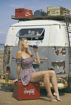 Volkswagen and a Coke Trucks And Girls, Car Girls, Pin Up Girls, Volkswagen Transporter, Volkswagen Bus, Sexy Cars, Hot Cars, Combi Vw T2, Car Wrap Design