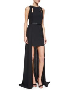 Sleeveless Belted High-Low Gown, Black by Halston Heritage at Neiman Marcus.