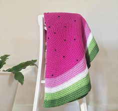 Watermelon Crochet Baby Blanket by DyeNumber2 on Etsy