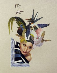 Original collage 'Kitty' by Maria Rivans (Liberty Gallery, Stand G28 LAF)