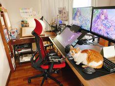 #絵描きさんの作業環境が見たい - Twitter Search / Twitter Art Studio Room, Art Studio Design, Art Studio At Home, Game Room Design, Studio Setup, Gaming Room Setup, Desk Setup, Home Office Setup, Home Office Design
