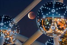 20110616 - Lunar eclipse at Atomium in Brussels, Belgium. (AP Photo/Geert Vanden Wijngaert)