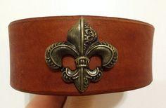 Fleur de lis brown leather bracelet by ChristyKeysCreations, $18.00