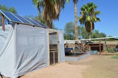 The latest pond-based GP system featuring solar panels, goats, and rain-catchment aqueducts.