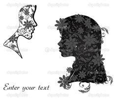 Perfil perfecto de una mujer con flores - Ilustración de stock: 23050498