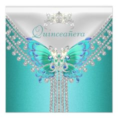 #Quinceañera Teal Blue White Butterfly Diamond #Invitations $1.90