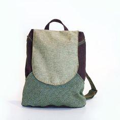 green backpack bag  backpack canvas backpack laptop by Badimyon