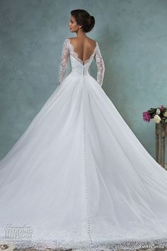 amelia sposa 2016 wedding dresses bateau neckline lace long sleeves beaded embellishment tulle skirt a line ball gown wedding dress jessica back view -- Top 100 Most Popular Wedding Dresses in 2015 Part 1 Popular Wedding Dresses, 2016 Wedding Dresses, Bridal Dresses, Wedding Gowns, Beaded Dresses, Dresses 2016, Trendy Wedding, Wedding Ideas, Wedding Menu