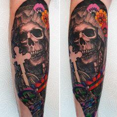 Skull, Tattoos, Santa Muerte, Tatuajes, Tattoo, Tattos, Skulls, Sugar Skull, Tattoo Designs