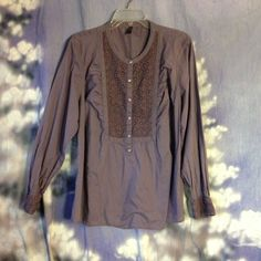 Old Navy purple long sleeve cotton blouse size XXL  , embroidered front detail #OldNavy #Blouse #Casual