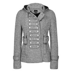 Daytrip Military Jacket ❤ liked on Polyvore featuring outerwear, jackets, blusas, grey, tops, military jacket, army jackets, gray military jacket, grey military jacket and grey jacket