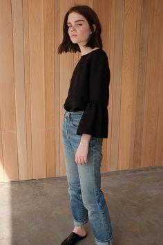 Reese Blustein photographed by Jennifer Grimm, wearing Megan Huntz's Valentina linen top.
