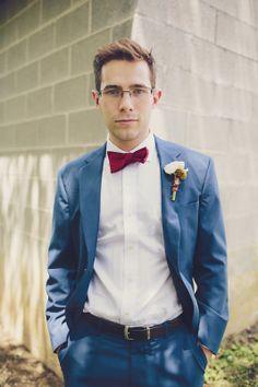 Kyle + Sam Wedding - Brooke Courtney Photography / red, white + blue wedding inspiration / groom / suit / bow tie / portrait /