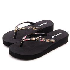 dd82bc923d31 Always Pretty Womens Flexible Floral Thong Platform Sandals Wedges Flip  Flops Black US 8EU 39  gt