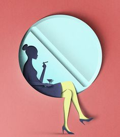 """The Pill"". Mixed media or digital cut paper illustration by Eiko Ojala."