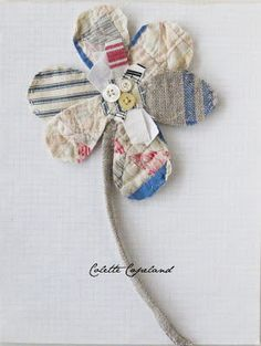 Textile art flower shabby chic folk art by ColetteCopeland on Etsy Old Quilts, Vintage Quilts, Antique Quilts, Vintage Fabrics, Quilting Projects, Sewing Projects, Scrap Fabric Projects, Rosa Rose, Art Textile
