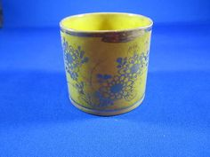 Antique Soft Paste Canary Yellow Luster Gold Decorated Cup