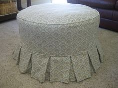 Round Ottoman Slipcover - Home Furniture Design Ottoman Decor, Ottoman Slipcover, Ottoman Cover, Home Furniture, Furniture Design, Custom Slipcovers, Modern Ottoman, Cozy Cottage, Printing On Fabric