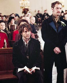"The groom and the best man -- at least Holmes got him there on time! (Jude Law and Robert Downey Jr., ""Sherlock Holmes: A Game of Shadows"") Sherlock Holmes, Watson Sherlock, Jude Law, Johnlock, Holmes Movie, Detective, Elementary My Dear Watson, Robert Downey Jr., Guy Ritchie"