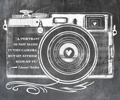 Edward Steichen Quote - Retro Camera - Chalkboard Look 8 x 10 Print