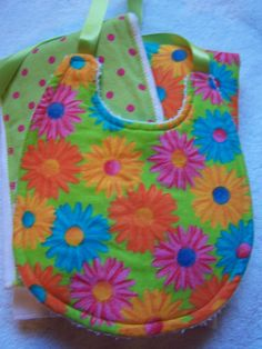 Baby burp cloth and bib set. lime green pink by chinaberrycreek, $15.00