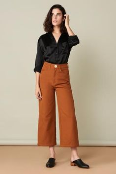 Flora Pant in Rust. Whimsy + Row FW'17 Eco-Friendly Clothing. Ethical brand, sustainably made in LA. Sustainable fabrics, fall mini skirt, sustainable fashion. Locally made in USA, wide legged / culottes / cropped pant / high rise. Shop at whimsyandrow.com