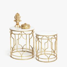 ZARA HOME product Nested marble tables with gold metal legs
