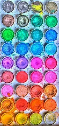 Brightly coloured paints.