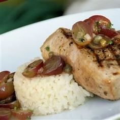 """Grilled Tuna Steaks with Grape and Caper Salsa I """"What a fantastic summer dish.This recipe is really about the salsa, because it could be just as easily used on salmon, swordfish, chicken, maybe even pork."""""""