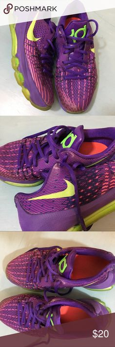 Boys Nike KD Shoes Purple and lime green. Pre-loved Shoes Nike Kevin Durant. Some wear pictured on the sides but still in really good condition. Nike Shoes Sneakers