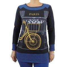 Camiseta algodon mujer manga larga estampado bicicleta