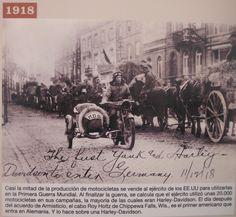 WWI: 1918: El primer soldado americano en entrar en Alemania lo hace a bordo de una Harley Davidson. Más en www.elgrancapitan.org/foro