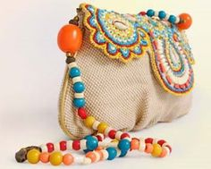 "New Cheap Bags. The location where building and construction meets style, beaded crochet is the act of using beads to decorate crocheted products. ""Crochet"" is derived fro Freeform Crochet, Crochet Art, Crochet Handbags, Crochet Purses, Diy Bags Purses, Purses And Handbags, Handmade Handbags, Handmade Bags, Crochet Shell Stitch"