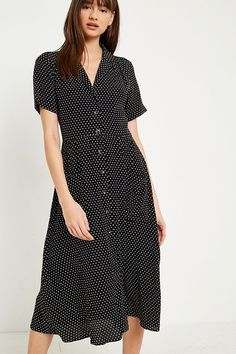 Slide View: 3: Pins & Needles Polka Dot Midi Shirt Dress
