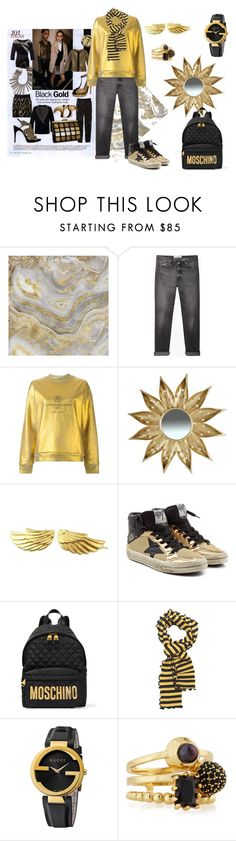 """Black Gold"" by sandra-moreno-2 on Polyvore featuring Universal Lighting and Decor, Golden Goose, A&B Home, Moschino, Slater Zorn, Gucci, Eddie Borgo, women's clothing, women's fashion and women"