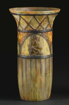 """GABRIEL ARGY-ROUSSEAU """"SINGES"""" VASE, BLOCH-DERMANT NO. 23.03 molded G. ARGY-ROUSSEAU and FRANCE pâte-de-verre 11 3/4  in. (30 cm) high 6 3/4  in. (17.1 cm) diameter circa 1923"""