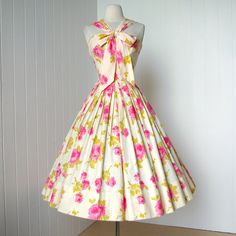 Full Skirted Dress with Pink Rose Print | vintage (c/o Etsy seller traven7)
