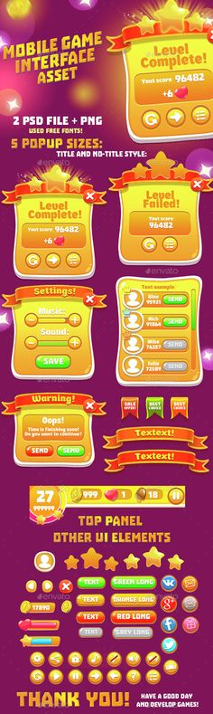 Orange Casual GUI Set - User Interfaces Game Assets | Download http://graphicriver.net/item/orange-casual-gui-set/15082858?ref=sinzo