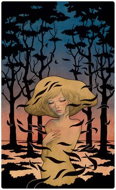 Japanese artist Audrey Kawasaki uses a variety of materials such as oil, ink and graphite to create these fantastic Art Nouveau-inspired paintings on wood. Audrey Kawasaki, Illustrations, Illustration Art, Art Nouveau, Poesia Visual, Psy Art, Pop Surrealism, Japanese Artists, Fantastic Art