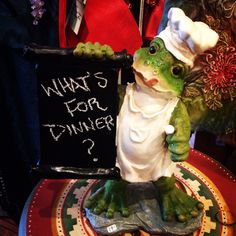 Le Chef Frog chalkboard at Diving Cat Studio Gallery in Phoenixville,PA! A perfect addition to any kitchen! www.divingcatstudio.com