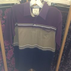 Purple/brown/black men's polo